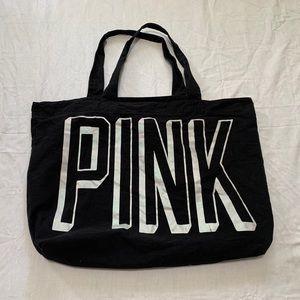 Pink Victoria's Secret Black Canvas Tote Bag